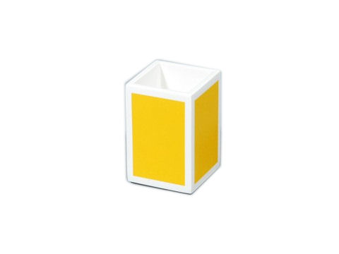 Mustard Yellow with White Trims Lacquer Brush Holder