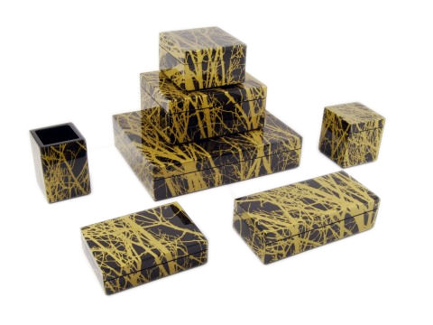 Gold Tree Inlay Brush Holder - Click Image to Close
