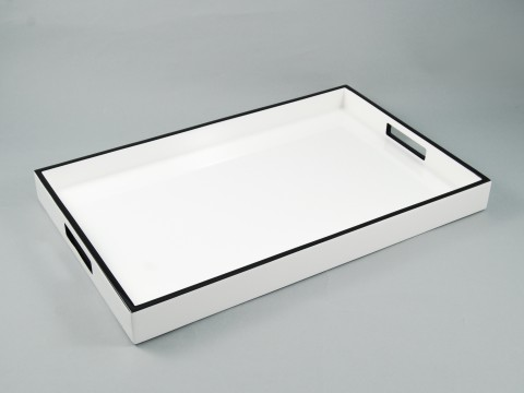 Breakfast Tray White Lacquer with Black Trim