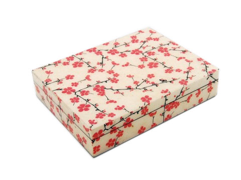 Cherry Blossom Paper Inlay with Lacquer Stationery Box