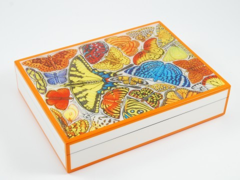 Orange and White with �Butterfly� Stationery Box