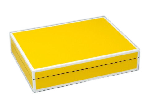 Five Sides Mustard Yellow and White Stationery Box