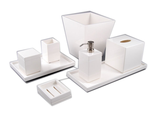 All White Lacquer Stationery Box - Click Image to Close