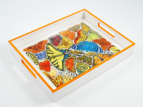 Orange and White with �Butterfly� Reiko Tray