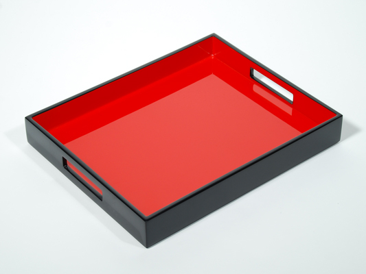 Reiko Serving Tray, Red with Black Lacquer