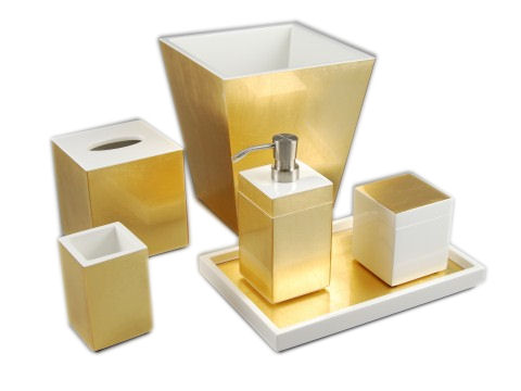 Gold Leaf Inlay with White Lacquer Lotion Pump (Metal Nozzle) - Click Image to Close