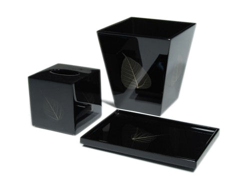 Bodhi Leaf Inlay Black Lacquer Cube Tissue Box Cover - Click Image to Close