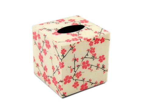 Cherry Blossom Inlay Lacquer Tissue Box Cover
