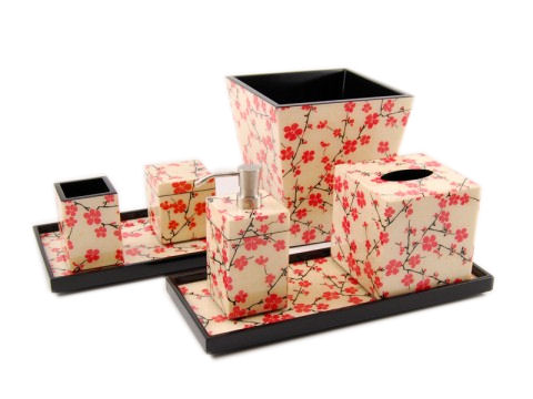 Cherry Blossom Inlay Lacquer Tissue Box Cover - Click Image to Close