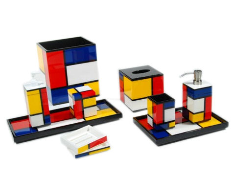 Color Mondrian© Lacquer Cube Tissue Box Cover - Click Image to Close
