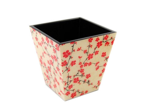 Cherry Blossom Inlay Lacquer Waste Basket