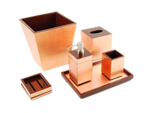 Copper Leaf Inlay with Coffee Brown Lacquer Waste Basket - Click Image to Close