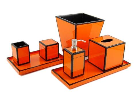 Orange with Black Trim Lacquer Square Waste Basket - Click Image to Close