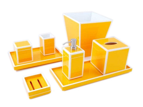 Mustard Yellow with White Trims Lacquer Square Waste Basket - Click Image to Close