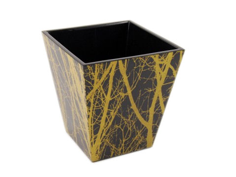 Tree with Lacquer Square Waste Basket