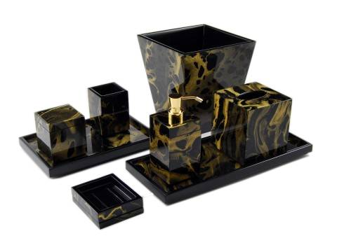 Black Gold Marble Paper Inlay with Black Lacquer Vanity Tray - Click Image to Close