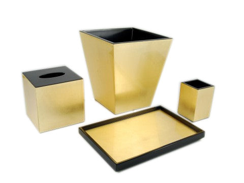 Gold Leaf Inlay With Black Lacquer Vanity Tray - Click Image to Close