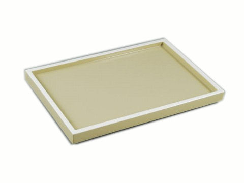 Taupe with White Trims Lacquer Vanity Tray