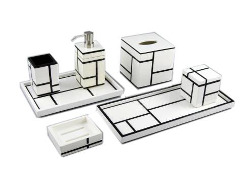 White Grid Lacquer Vanity Tray - Click Image to Close