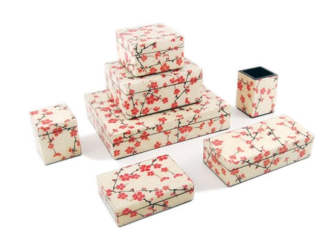 Cherry Blossom Inlay Lacquer Long Vanity Tray - Click Image to Close