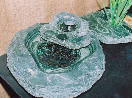 "Double Tier Jade Slate Fountain, 18"" Open Pool"