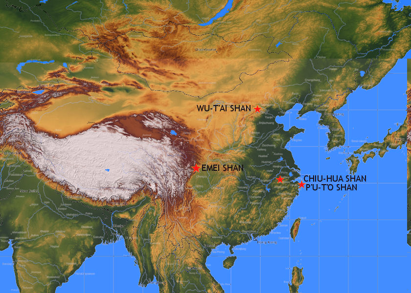 Map of China's Four Sacred Buddhist Mountains