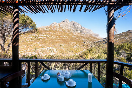 View from a tea table with teapot and cups over the mountains of the Western Cape in South Africa � Don Bayley 2008 iStockphoto
