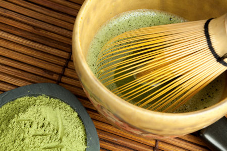 Matcha and Japanese chasen (whisk made of bamboo) for tea ceremony © Studio Annika, iStockphoto 2011