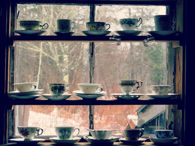 Teacups arranged in a window in the country.  � shyflygirl, iStockphoto 2014