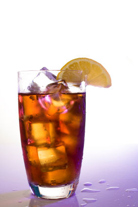 Refreshing iced tea in a glass