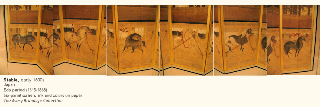 Japanese screen of a stable, early 1600s, Edo period (1615-1868)