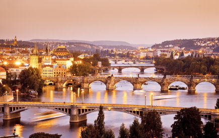 Bridges of Prague at Twilight, Czech Republic, famous Charles Bridge in the middle, © Alex Nikada, iStockphoto