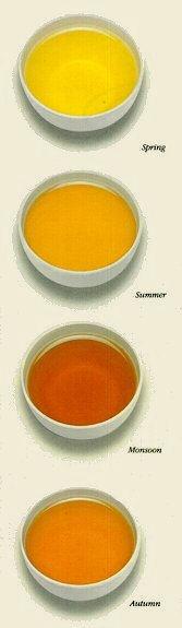 Tea liquor with the four flushes of tea