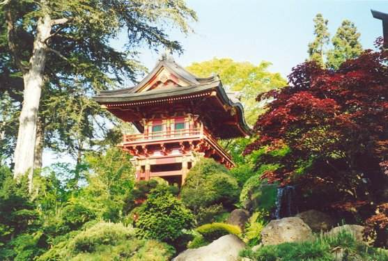 View of Temple Gate, waterfall and Japanese maple