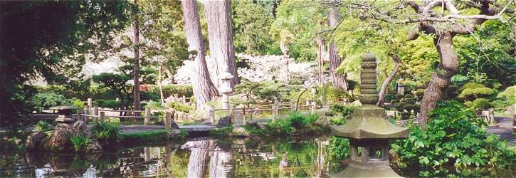 View of Main Pond area with stone pagoda in foreground