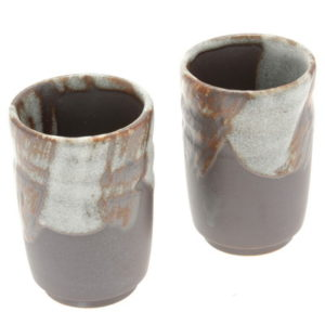 Set of 2 Teacups, Winter Tree Bark pattern