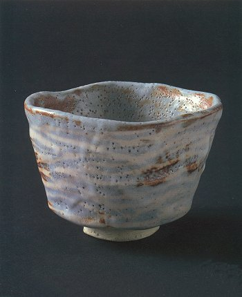 "Gray Shino Tea Bowl ""Mountain Path"""