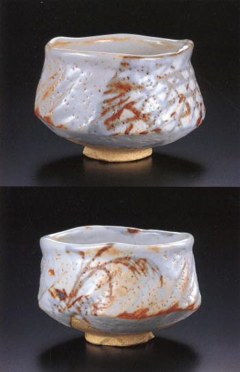 Painted Shino Tea Bowl (2 views)
