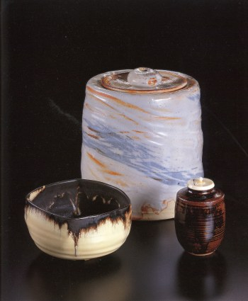 Concord Kiln, Tea Bowl<br />Painted Shino Water Container<br />Seto Tea Caddy