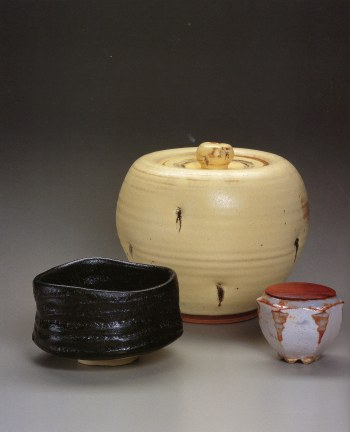 Black Oribe Tea Bowl<br />Concord Kiln, Water Container<br />Shino Six-sided Tea Container