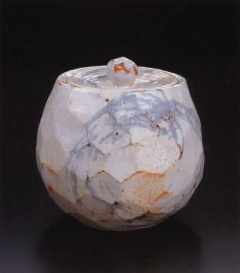 Painted Shino Faceted Round Water Container