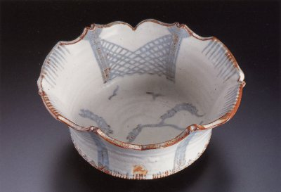 Painted Shino Oval Serving Bowl