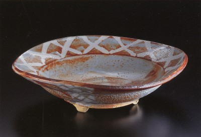 Red Shino Serving Bowl