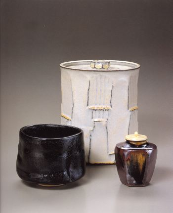 Seto Guro Tea Bowl<br />Concord Kiln, Faceted Water Container<br />Concord Kiln, Six-sided Tea Caddy
