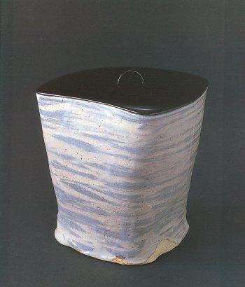 Gray Shino Triangular Water Container