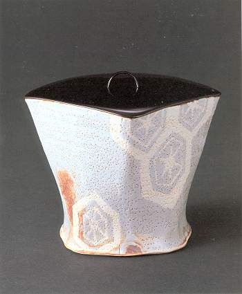 Gray Shino Tortoise shell motif Water Container