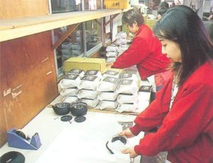 The in-depth quality control procedure follows, after which<br />the teapots are carefully packaged.